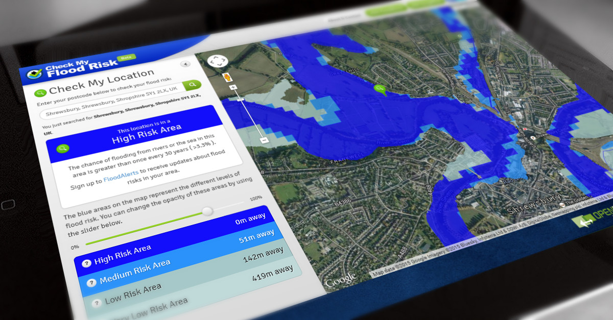 Check My Flood Risk Created By Shoothill - Flood check map
